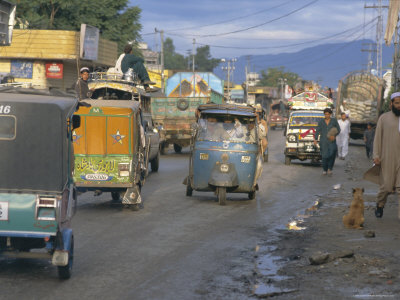 357-1287~Three-Wheeled-Vehicles-on-Main-Road-Mingora-Swat-Valley-North-West-Frontier-Province-Pakistan-Posters